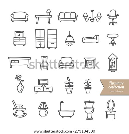 Hand drawn furniture icons collection: interior objects on white background - stock vector
