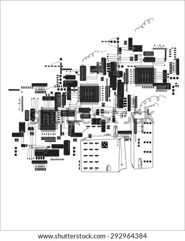 Hand drawn future city in shapes of circuit boards and electronic components, concept of modern computer technologies - stock vector