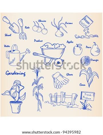 Hand Drawn Garden Icon Set         vector is eps10 - stock vector