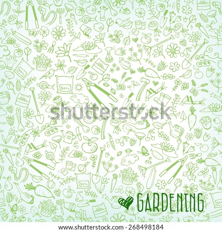 hand drawn garden icons background, vector illustration - stock vector