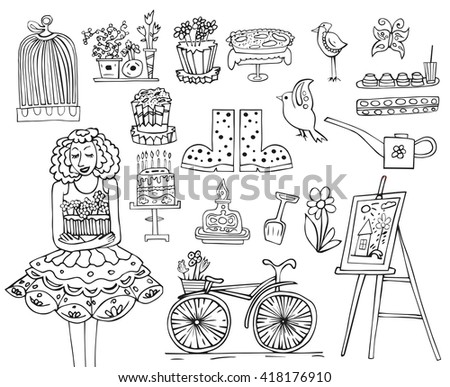 hand drawn garden set. Garden instruments.girl with flowers. birds,bike,pies