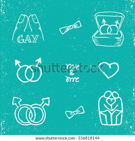 Hand drawn gay scribble icon set. White on grunge blue color background. - stock vector