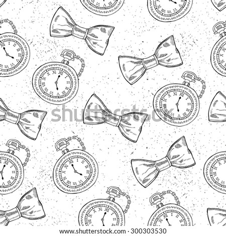 Hand drawn gentleman seamless background. Vector illustration. - stock vector