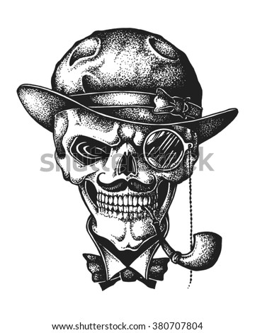 Hand drawn gentleman skull wearing bowler hat with monocle and smoking pipe. Vector illustration - stock vector