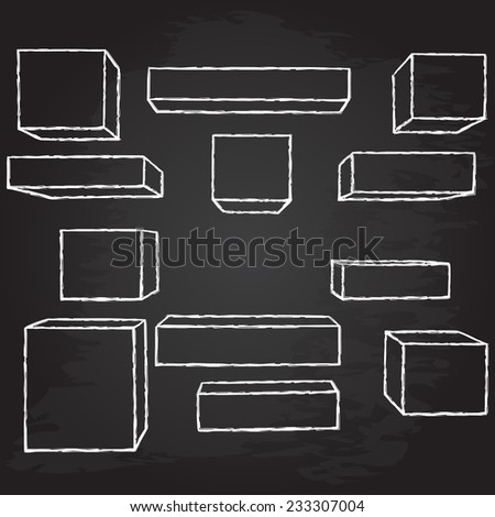 Hand drawn geometric shapes. Chalk design. Vector illustration.