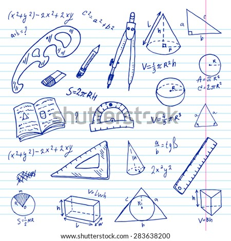 Hand drawn geometry doodle set.
