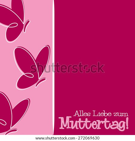 Hand Drawn German Happy Mother's Day card in vector format. - stock vector