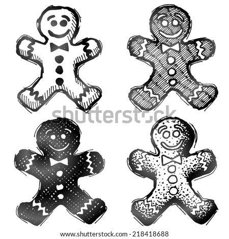 Hand drawn gingerbread man. Sketch of holiday cookie in doodle style. Qualitative vector illustration for new year's day, christmas, winter holiday, cooking, new year's eve, food, silvester, etc - stock vector