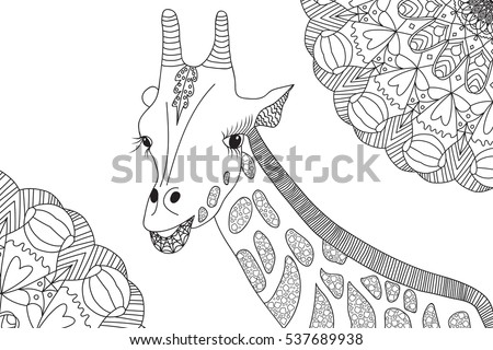 Hand-drawn giraffe illustration for coloring book