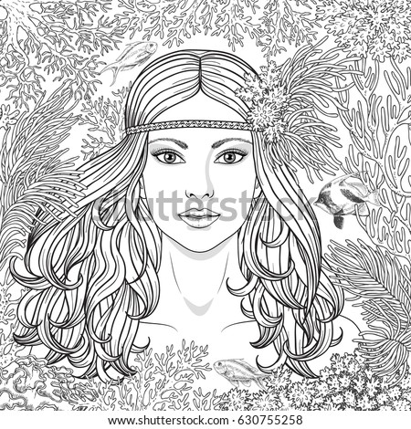 Native American Girl Face Coloring Page