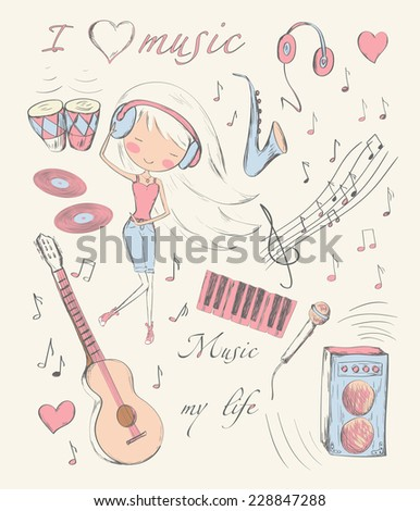 Hand drawn girl and music accessories doodle design elements set. Vector illustration. - stock vector