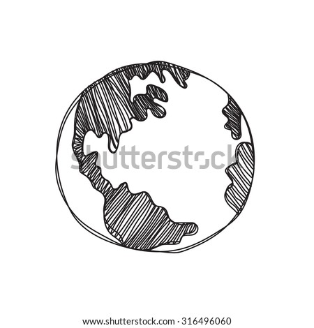 hand drawn global Isolated illustration on white background - stock vector