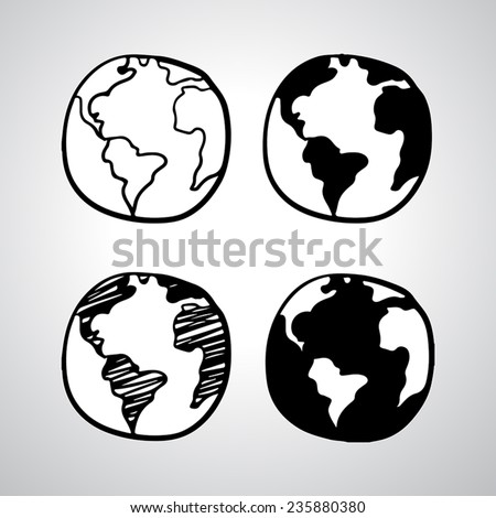 Hand drawn globe icon. Vector illustration - stock vector