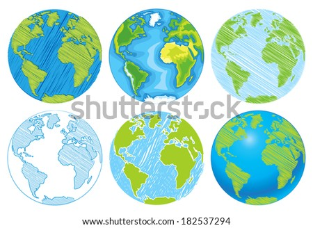 Hand drawn Globe. Sketch illustration of planet earth. Vector illustration. Isolated on white background - stock vector