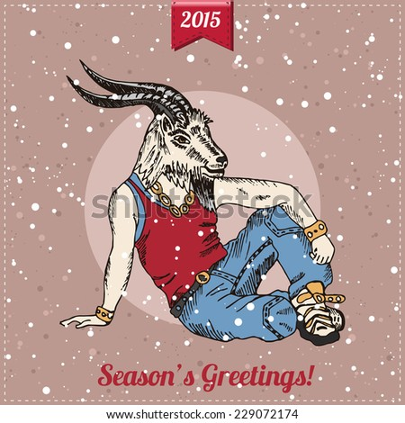 Hand drawn goat man with snowfall. Hipster Christmas greeting card. Vector illustration. - stock vector