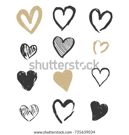 Hand drawn Gold and Black Hearts in Doodle Marker Style Vintage