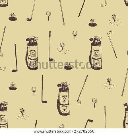 hand drawn golf seamless pattern - stock vector