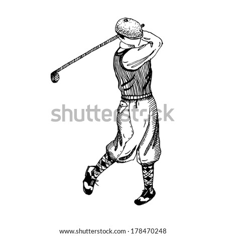 hand drawn golfer in traditional outfit - stock vector