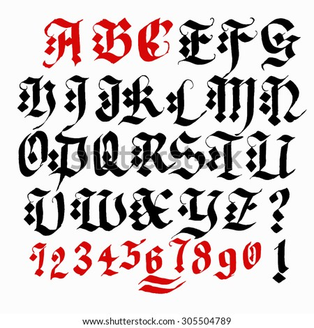 Hand Drawn Gothic Ink Pen Artistic Font Set Includes Capital Letters Numbers Exclamation