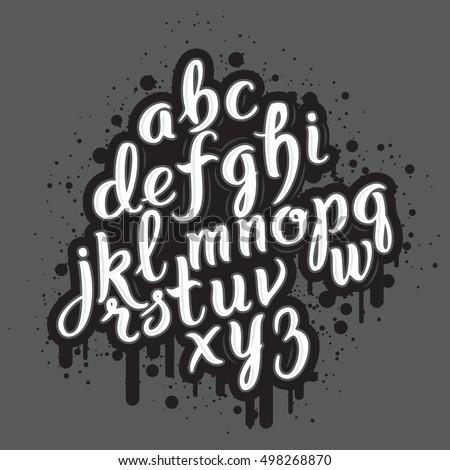 Hand Drawn Graffiti Font Alphabet Brush Pen Letters Handwritten Script Lettering