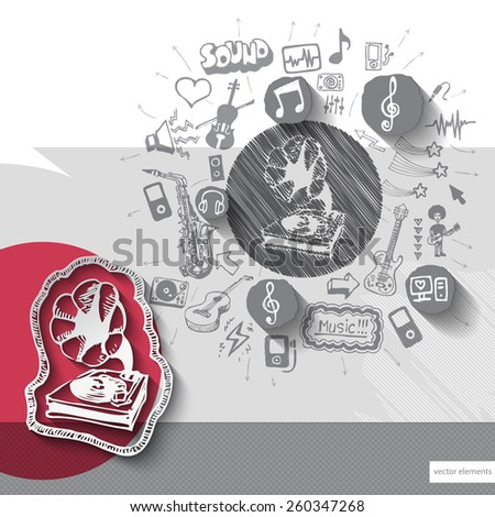 Hand drawn gramophone icons with icons background. Vector illustration - stock vector