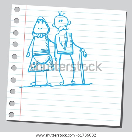 Hand drawn grandmother and grandfather - stock vector