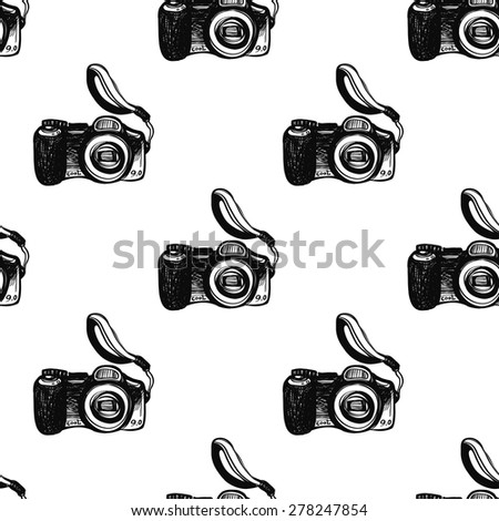 Hand drawn graphic black and white sketched digital. Set of modern photo items seamless pattern. Hatched line art sketch on white background