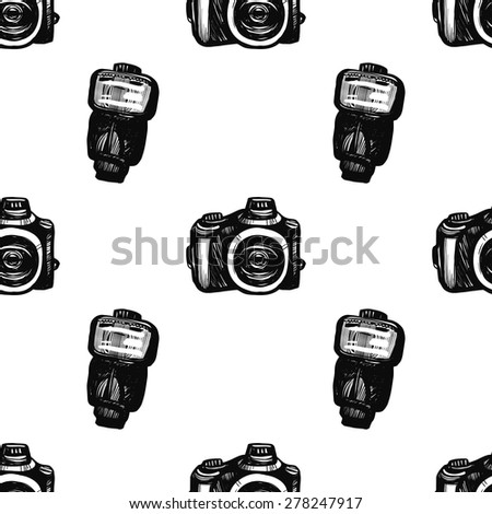 Hand drawn graphic black and white sketched flash and camera. Set of modern photo items seamless pattern. Hatched line art sketch on white background