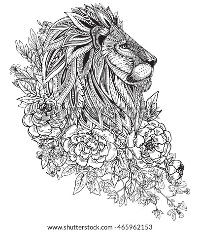 Hand Drawn Graphic Ornate Head Of Lion With Ethnic Floral Doodle Pattern Peonies And Other