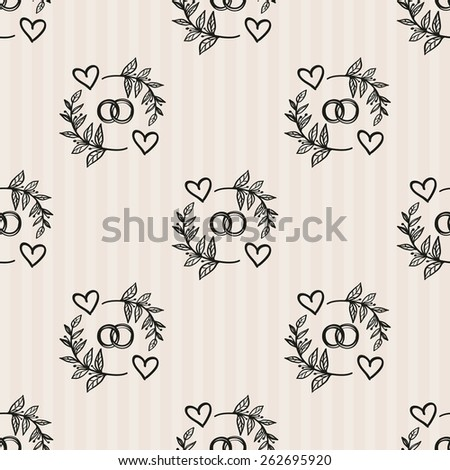 Hand Drawn graphic vintage ring. Set of isolated floral rustic forest wedding decorative symbols and elements. Chess grid order pattern. - stock vector