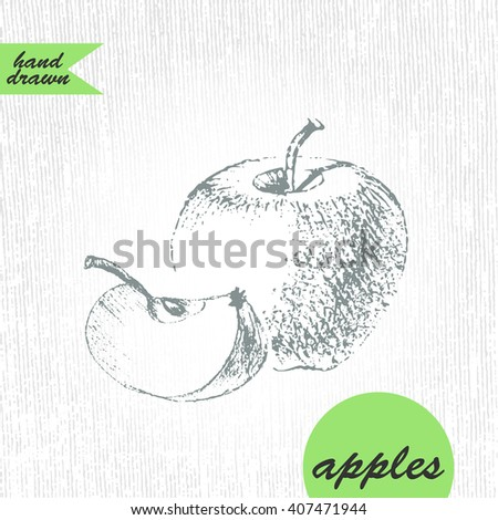 Hand drawn graphite pencil sketch of apple and slice on grunge texture in grey