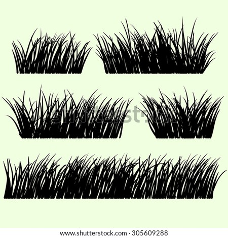 Hand drawn grass set. Grass silhouette.