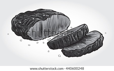Hand drawn gray scale vector illustration of sliced Beef Steak.