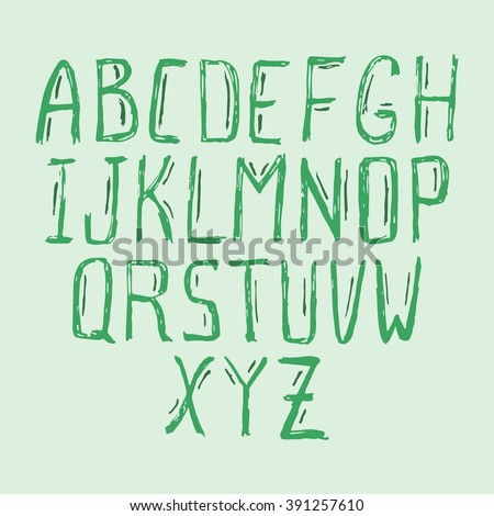 Hand drawn green alphabet with shadows