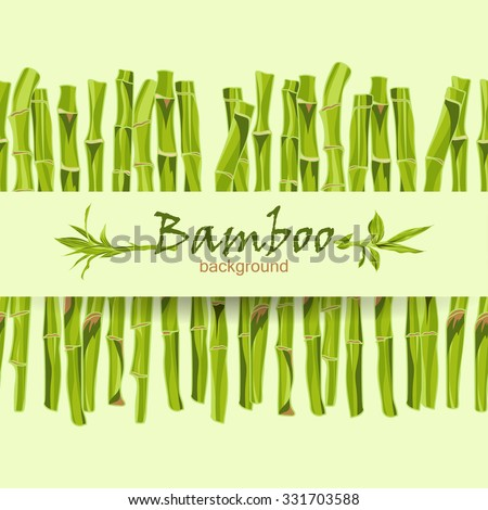 Hand-drawn green bamboo background with space for text. Easily editable  vector illustration - stock vector