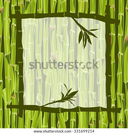 Hand-drawn green bamboo  frame background with space for text. Easily editable  vector illustration - stock vector