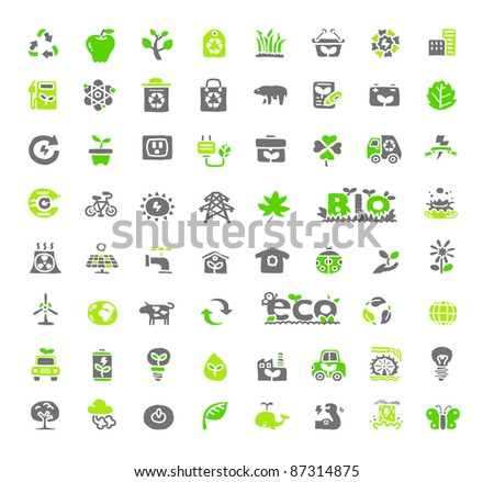 Hand drawn Green Ecology, Bio icon set - stock vector