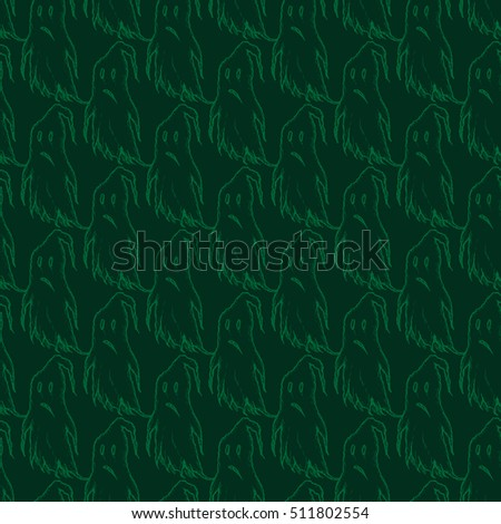 hand drawn green ghost pattern. perfect for Halloween party invitation card, poster, banner, or flyer