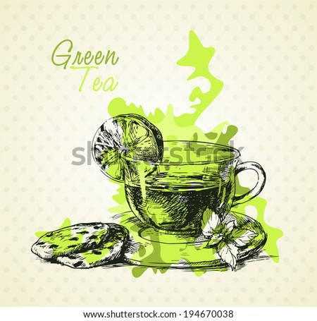 Hand drawn green tea with lemon, mint and biscuits. Menu design - stock vector