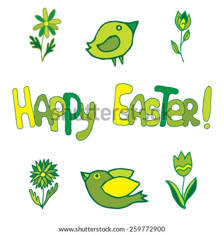 """Hand-drawn greeting card """"Happy Easter"""" with flowers and birds on isolated background - stock vector"""
