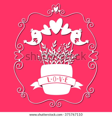 Hand drawn Greeting Card with paper cut effect of birds, plant, decorative frames. Vector