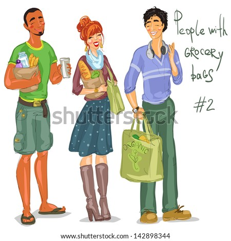 Hand drawn group of people with grocery bags, isolated - part 2. Grocery shopping, sketch. - stock vector