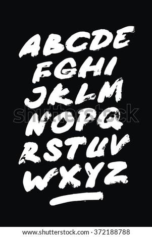 Hand drawn grunge font. Detailed vector alphabet - stock vector