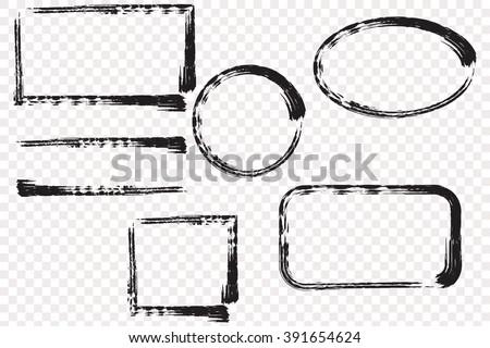 Hand drawn grunge frame text..  Vector Brush Stroke . - stock vector