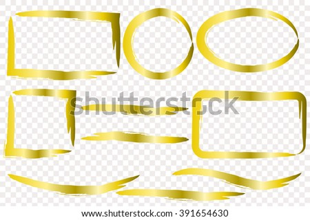 Hand drawn grunge frame with space for text. Gold paint - stock vector