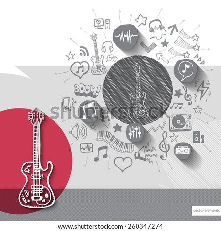 Hand drawn guitar icons with icons background. Vector illustration - stock vector