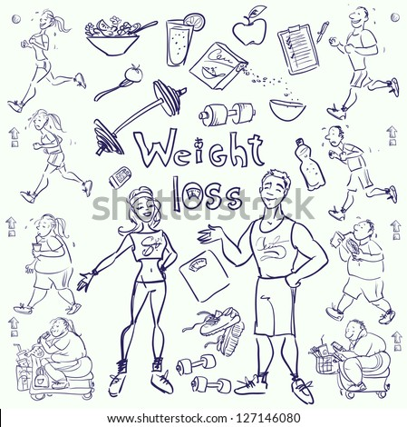 Hand drawn gym people, cartoon characters and elements, sketch - stock vector