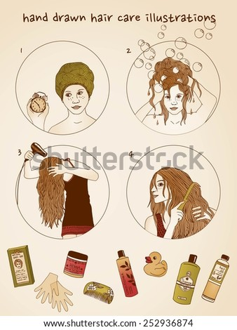 Hand drawn hair care illustrations - stock vector