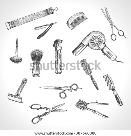 Hand drawn hairdressers professional tools. Barber Stylist Tools set. Vector barber shop vintage collection. Retro Illustration in ancient engraving style - stock vector
