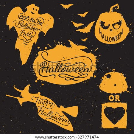 Hand drawn Halloween design elements. Halloween icon with calligraphy. Witch, bat, pumpkin, spider, ghost, shape. Hand drawn typography poster - stock vector